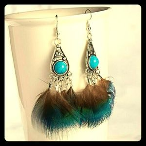 Jewelry - ⏺️Turquoise &⏺️Feather⏹️Dangle⏺️Earrings⏺️